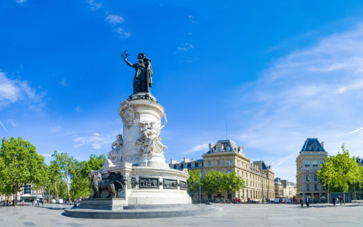 Paris panorama of the monument to the Republic with the symbolic statue of Marianna, in Place de la Republique