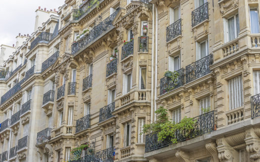 haussmannnian buildings in Paris close up